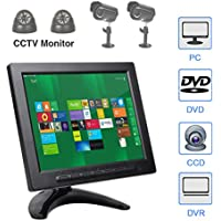 ALON 8 inch IPS CCTV Monitor with Remote Control TFT Color Video Monitor Screen Security Surveillance Monitor AV/VGA/BNC/HDMI/USB Input,Dual Speakers