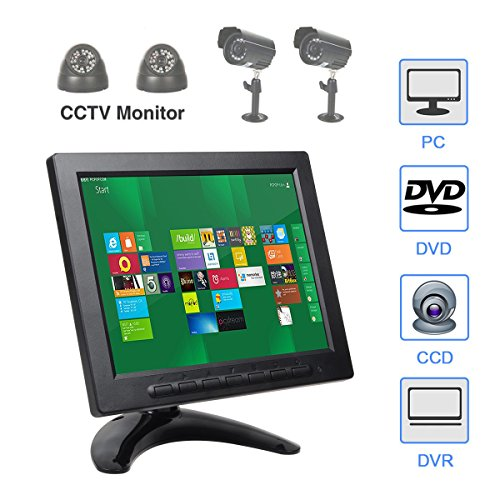 Remote Color Camera - ALON 8 inch IPS CCTV Monitor with Remote Control TFT Color Video Monitor Screen Security Surveillance Monitor AV/VGA/BNC/HDMI/USB Input,Dual Speakers