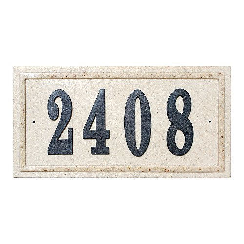 Qualarc CSP-RECT-SS Ridgestone Rectangle Crushed Stone Address Plaque, Sandstone