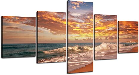 Beach scenery 5PCS HD Canvas printed Home decor painting room Wall art poster