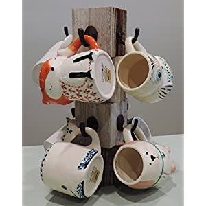 "8"" X 8"" X 15"" Farmhouse Reclaimed Wood Mug Tree for 8 Mugs"