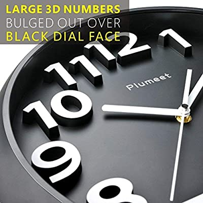 "Plumeet Large Number Wall Clock, 13"" Silent Non-Ticking Quartz Decorative Wall Clock, Modern Style Good for Living Room & Home & Office Battery Operated (Black)"