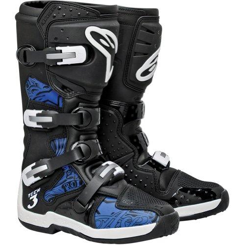 Alpinestars Tech 3 Men's Motocross Motorcycle Boots - Black/Blue / Size 9