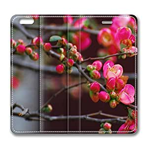 iPhone 6 Plus Case, Fashion Protective PU Leather Flip Case [Stand Feature] Cover Quince Blossoms for New Apple iPhone 6(5.5 inch) Plus