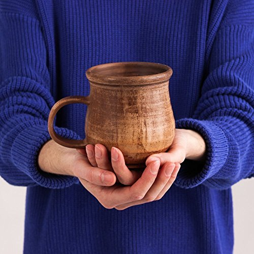 Rustic Stoneware Mug - Pottery Ceramic Coffee Mug Brown 8.5 oz - Handmade Rustic Stoneware Mugs - Unique Tea Mugs from Clay and Milk - Handcrafted Pottery Gifts for Men