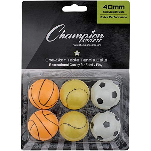 Champion Sports Recreational 1 Star Table Tennis Balls (Pack of 6), Sports