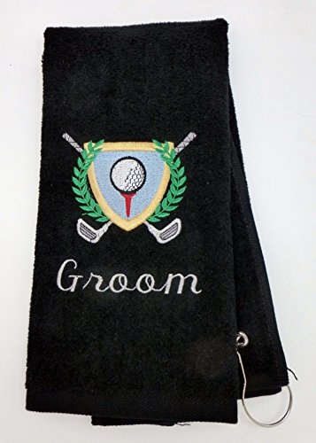 Mana Trading Custom Personalized Embroidered Golf Towel GOLF CREST (Navy (Blue Embroidered Velour Golf Towel)