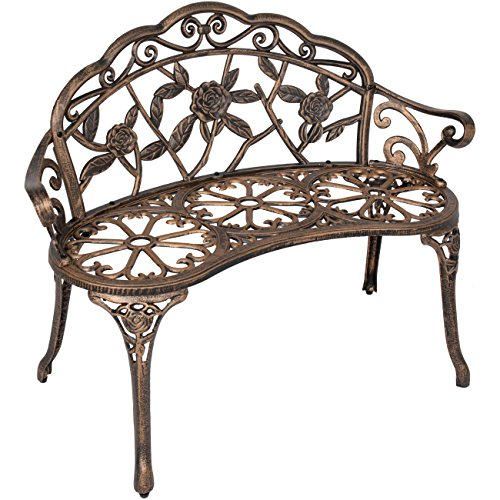 Best Choice Products Floral Rose Accented Metal Garden Patio Bench w/ Antique Finish - Bronze (Curved Bench Backless)