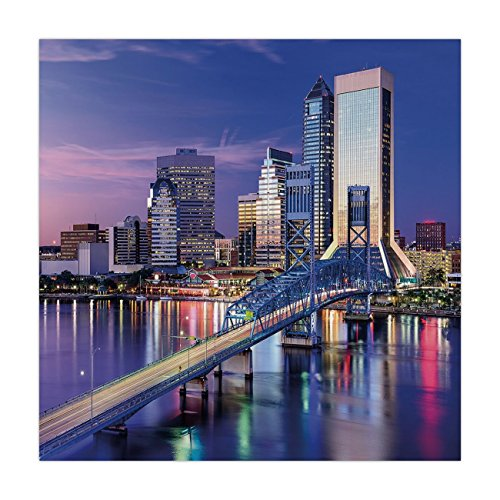 Satin Square Tablecloth,United States,Urban Cityscape Bridge Office Buildings Jacksonville Florida,Violet Blue Light Pink Tan,Dining Room Kitchen Table Cloth Cover ()