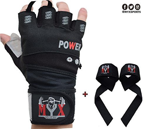 2018 MYX WeightLifting Gloves With Wrist Wrap Support For Fitness, WOD, Gym Workout & Powerlifting - Extra Padding To Avoid Calluses - For Men & Women + Lifting Wrist Straps (Power Wrist Wrap Performance Gloves)