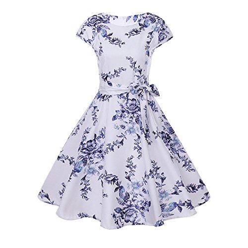 Women Print Dress Floral Cap Sleeve Vintage Dress with Belt Elegant Robe Rockabilly Dresses,WQ1082-007,XL ()