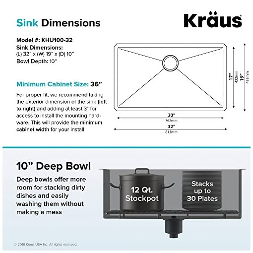 Kitchen Kraus KHU100-32 Standart PRO 16 Gauge Undermount Single Bowl Stainless Steel Kitchen Sink, 32 Inch modern kitchen sinks