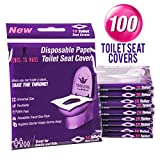 100 Disposable Toilet Seat Covers - Flushable Toilet Seat Covers for Kids, Toddlers and Adults for Use During Travel, Potty Training, Many More (10 Resealable Packs of 10)- By Venus To Mars: more info