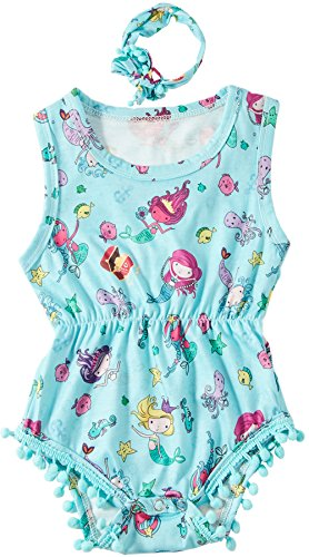 Leapparel Colorfull Summer Onesie Outfit Baby Girl Romper Round Neck Jumpsuit Bodysuit and Headband with Starfish Pattern,Blue Mermaid,6-12 Months (Size 90) -