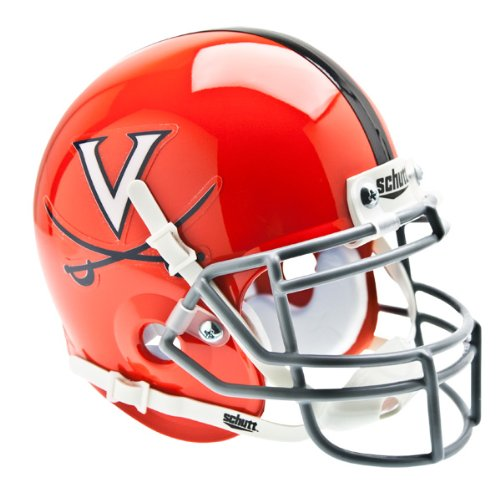 Virginia Cavaliers Team Helmet (NCAA Virginia Cavaliers Collectible Alt 2 Mini Helmet, Orange Grey)