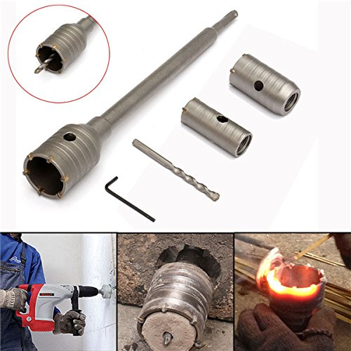 CoCocina 3pcs 30/40/50mm SDS Plus Shank Hole Saw Cutter Concrete Cement Stone Wall Drill Bit with (Shank Concrete)