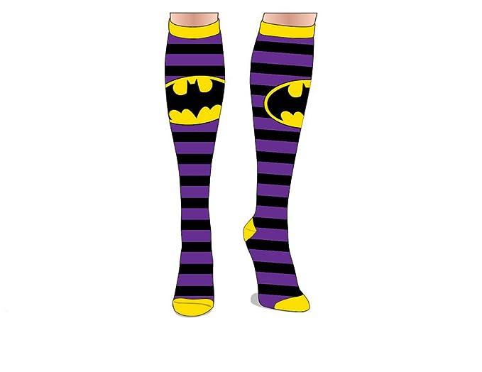 e8469f02d Amazon.com  Batman Purple Black Striped Knee High Socks