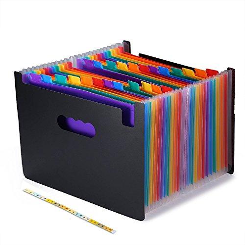 F&SLIFE 24 Pockets Expanding Files Folder , Letter Size - Black (BG000018)