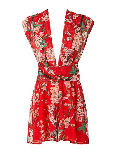 Choies Women's Red Romper Playsuit Sakura Print Deep V Neck Cross Playsuit M