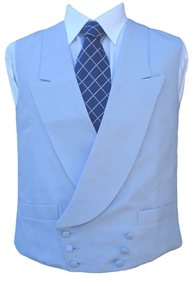 Clermont Direct Double Breasted Irish Linen Waistcoat in Powder Blue Made in UK