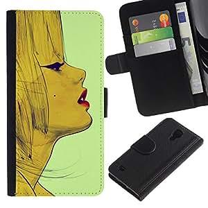 All Phone Most Case / Oferta Especial Cáscara Funda de cuero Monedero Cubierta de proteccion Caso / Wallet Case for Samsung Galaxy S4 IV I9500 // Vintage Fashion Woman Lips Face