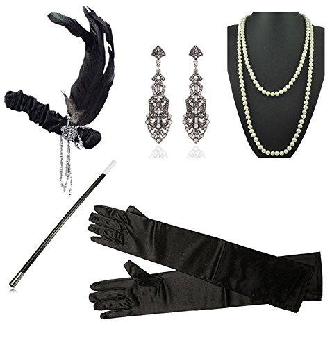 1920s Gatsby Flapper Costume Accessories Feather Headband Earrings Pearl Necklace Gloves Cigarette Holder for (Charleston Black Flapper Costumes)