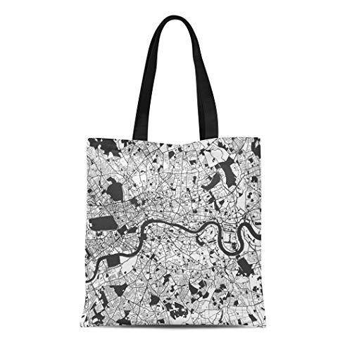 (Semtomn Canvas Tote Bag London Monochrome Map Artprint Outline Ready for Color Change Durable Reusable Shopping Shoulder Grocery Bag)