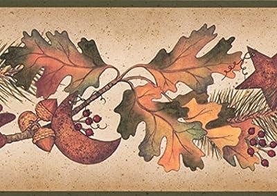Autumn Leaves Pine Needles on Branches Acorns Pine Cones Fall Wallpaper Border Retro Design, Roll 15' x 5''