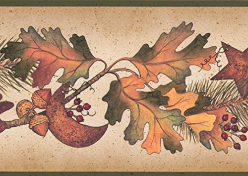 Autumn Leaves Pine Needles on Branches Acorns Pine Cones Fall Wallpaper Border Retro Design, Roll 15' x ()