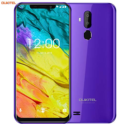 OUKITEL C12 Unlocked Cell Phone Smartphone, 6.18 inch 19:9 Full Screen Display Android 8.1 Dual 3G SIM Free Mobile Phone,Quad-Core 2GB RAM+16GB ROM,8MP+2MP+5MP Cameras,Face ID+Fingerprint - Purple (Best Double Sim Smartphone)