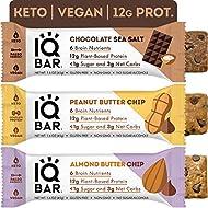 IQBAR Brain + Body Protein Bars | Chocolate Lovers Variety | Keto, Vegan, Paleo Friendly, Low Sugar, Low Net Carb, High Fiber, Gluten Free, No Sugar Alcohols | 12 Count