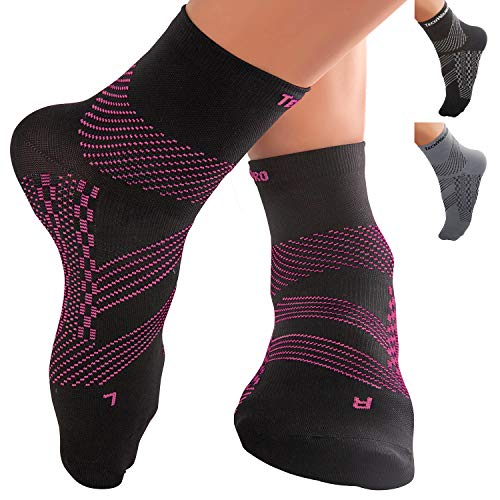 (TechWare Pro Ankle Brace Compression Socks - Plantar Fasciitis Pain Relief Sock with Arch Support. Foot Sleeve Relieves Achilles Tendonitis & Heel Pain. Women & Men. Everyday Use & Injury Recovery )