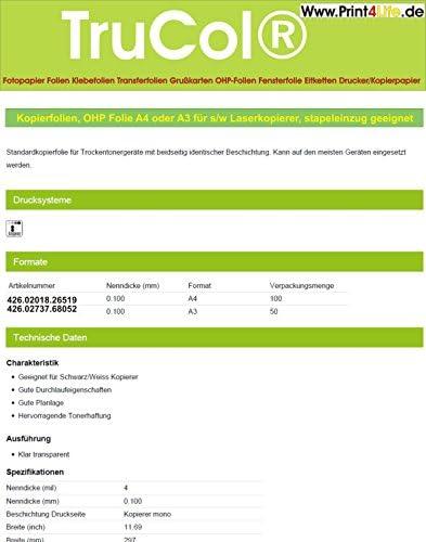 OHP Folie A3, 50 Kopierfolien, Overhead OHP Folie A3 für s/w Laserkopierer, 50 Folien (VE), stapeleinzug geeignet