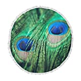 KESS InHouse Chelsea Victoria Peacock Feathers Blue Green Round Beach Towel Blanket