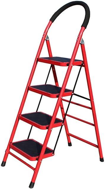 Escalera plegable Las escaleras de pedales antideslizantes, cuatro pasos de tijera de metal resistente al desgaste Barandilla de escalera Almacén/hotel/patio Escalera/rojo, blanco Multifuncional: Amazon.es: Bricolaje y herramientas