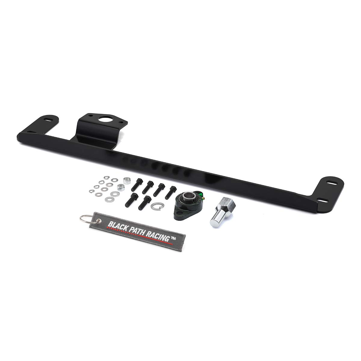 BlackPath Black Adapter Nut Wobble Fix Cummins Diesel Fits 2003-2008 Dodge Ram 2500 3500 4WD Steering Gear Box Stabilizer Brace Kit Carbon Steel