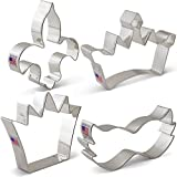Mardi Gras / New Orleans Cookie Cutter Set - 4 piece - King Crown, Princess Crown, Mask and Fleur de Lis - Ann Clark - Tin Plated Steel