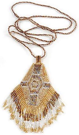 Avalaya Bronze//Gold//Transparent Glass Bead Geometric Pattern Pendant with Long Cotton Cord 80cm Long