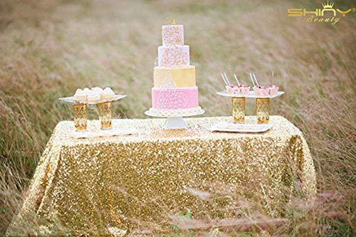 ShiDianYi Light Gold Rectangular Tablecloth 90x132-Inch Table Linens 6FT Sequin Champagne Gold Table Cloth ~0815S by ShiDianYi (Image #1)