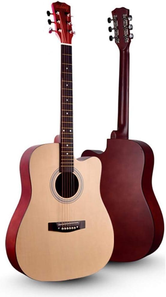 Guitarra acústica DorisAA tamaño completo 41 pulgadas principiante folk guitarra natural para estudiantes adultos principiantes (color: natural, tamaño: 104 cm)