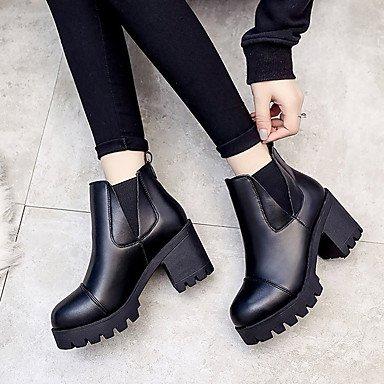 DESY bottes confortable Casual carré amphibies pour noir 5 nbsp; cuir automne formelle femme simili hiver rwqgErY