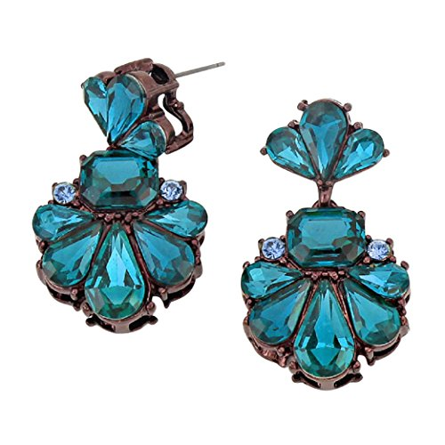 Rosemarie Collections Women's Vintage Style Statement Floral Crystal Dangle Earrings (Blue)