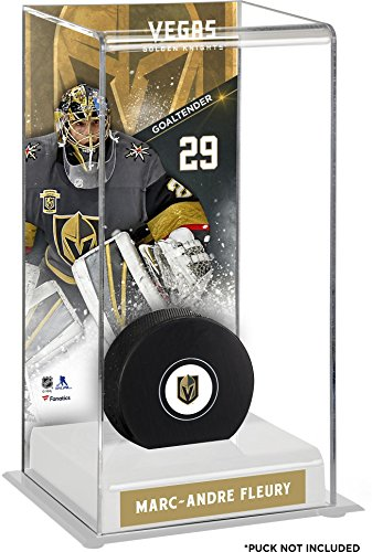 (Sports Memorabilia Marc-Andre Fleury Vegas Golden Knights Deluxe Tall Hockey Puck Case - Hockey Puck Free Standing Display Cases)