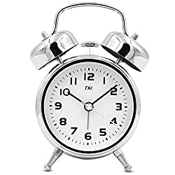 TXL 3.5 Twin Bell Alarm Clock Kids, Battery Operated with Nightlight, Handheld Sized, Non-Ticking Silent Metal Alarm Clocks for Bedrooms,Heavy Sleepers Bedside Analog Loud Alarm Clock,Silver