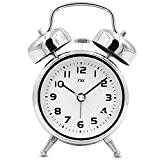 TXL 3.5'' Metal Twin Bell Alarm Clock Aluminum Dial, Backlight, Battery Operated Loud Alarm Heavy Sleepers/Office, Silent Non Ticking Sweep Bedside Retro Analog Quartz Night Table Clock-Silver
