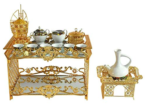 - Ethiopian/Eritrean Coffee Table Set- Rekebot- 4 PCS Set, Coffee Table (Rekebot), Server/Sugar Bowl with Tea Spoon-የስኳር ማቅረቢያ, Incense Burner-እጣን ማጨሻ, Coffee Pot (Jebena) Base- የጀበና ማስቀመጫ