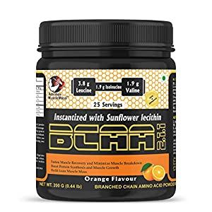 Advance MuscleMass BCAA 2 : 1 : 1 | Energy drink for Workout | 7.6 G BCAA | 3.8 G Leucine | 1.9 G Iso-Leucine | 1.9 G Valine| Instantized with Sunflower Lecithin| Lab Tested | Orange Flavour | 200 GM / 0.44 lb
