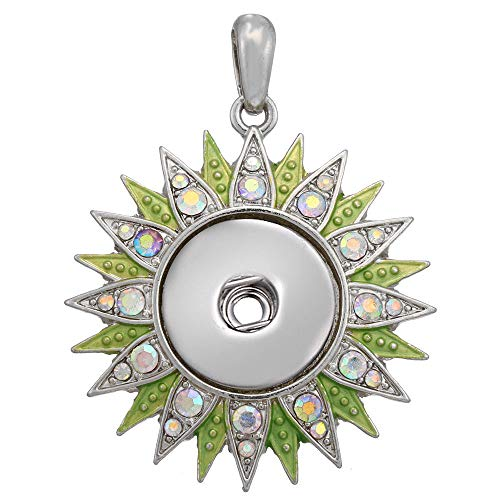 Women Crystal Flower Jewelry Necklace Pendant Fit 18mm Noosa Snap Button N377