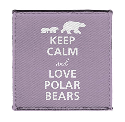 - Keep Calm AND LOVE POLAR BEARS PURPLE - Iron on 4x4 inch Embroidered Edge Patch Applique