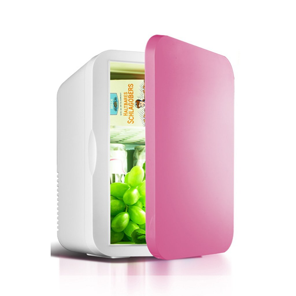 YI HOME- Car Mini Fridge Single Door Refrigerator Household Small Electronic Freezer Office Fast Cooling Heating 6L,Pink
